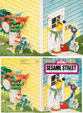 Animation Art:Production Drawing, Sesame Street Magazine #135 Bert, Grover and Oscar OriginalIllustration (The Parenting Group, 1980). ... (Total: 2 Items)