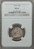 Bust Quarters, 1834 25C O Over F in OF, B-1, FS-901, R.1, MS61 NGC....