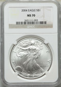 Modern Bullion Coins: , 2004 $1 Silver Eagle MS70 NGC. NGC Census: (3116). PCGS Population: (1146). ...