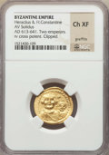 Ancients:Byzantine, Ancients: Heraclius (AD 610-641) and Heraclius Constantine (AD613-641). AV solidus. NGC Choice XF, graffito, clipped....