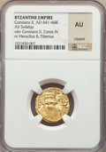 Ancients:Byzantine, Ancients: Constans II (AD 641-668) and Constantine IV (AD 654-685).AV solidus. NGC AU, clipped....