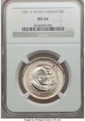 Commemorative Silver: , 1951-S 50C Washington-Carver MS66 NGC. NGC Census: (176/17). PCGS Population (136/0). Mintage: 10,000. Numismedia Wsl. Pric...