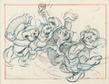 """Animation Art:Production Drawing, Snow White and the Seven Dwarfs """"Silly Song"""" Layout Drawing (Walt Disney, 1937)...."""