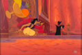 Animation Art:Painted cel background, Aladdin Jasmine, Aladdin, and Jafar Presentation Cel andMaster Production Background (Walt Disney, 1992). ...