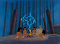 Animation Art:Painted cel background, Pocahontas Kekata Presentation Cel Setup and ProductionBackground (Walt Disney, 1995). ...