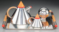 Decorative Arts, Continental:Other , A Four-Piece Larry Laslo Futura Silver-Plated and StainlessSteel Coffee Service for Towle Silversmiths, 20th ce... (Total: 4Items)