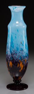 Art Glass:Schneider, A Schneider Mottled Glass Vase, circa 1920. 13-3/4 inches high x 4inches diameter (34.9 x 10.2 cm). ...