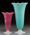 Art Glass:Other , A Pair of Murano Ruffled Trumpet Glass Vases Attributed to VitterioFerro. 13 inches high x 5 inches diameter (33.0...