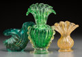 Art Glass:Other , Three Barovier Cordonato d'Oro Glass Pieces, Murano, Italy. 7 inches high x 4-1/2 inches diameter (17.8 x 11.4 cm) (largest)... (Total: 3 Items)