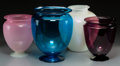 Art Glass:Steuben, Four Steuben Blue, Rosaline, Amethyst and Opalescent Glass Vases, Corning, New York, 20th century. 11 inches high x 9-1/2 in... (Total: 4 Items)