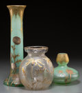 Art Glass:Other , Three Mont Joye Enameled and Acid-Etched Glass Vases . 16 incheshigh x 5-1/2 inches diameter (40.6 x 14.0 cm) (larger). ... (Total:3 Items)