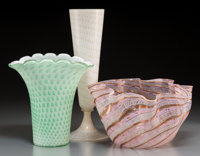 Three Fratelli Toso Bubble and Ribbon Patterned Glass Vases, Murano, Italy 13 inches high x 4-1/2 inches diameter