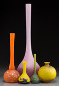 Art Glass:Other , Five French Vitrified Glass Vases. 22-1/4 inches high x 6-3/4 inches diameter (56.5 x 17.1 cm) (largest). ... (Total: 5 Items)