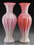 Art Glass:Other , A Near Pair of Murano Glass Vases with Bubble Pattern. 16-1/2inches high x 6 inches diameter (41.9 x 15.2 cm). ... (Total: 2Items)