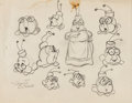 animation art:Model Sheet, Mr. Bug Goes to Town Model Sheet Practice Drawings by Shamus Culhane (Max Fleischer, 1941). ...
