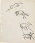Animation Art:Concept Art, Bambi Faline Dog Fight Rough Drawings and Studies Group by Retta Scott (Walt Disney, 1942). ...