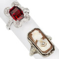 Estate Jewelry:Rings, Shell Cameo, Onyx, Garnet, Diamond, White Gold Rings. ...