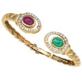 Estate Jewelry:Bracelets, Ruby, Emerald, Diamond, Gold Bracelet. ...