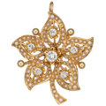 Estate Jewelry:Brooches - Pins, Diamond, Seed Pearl, Gold Pendant-Brooch. ...