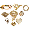 Estate Jewelry:Brooches - Pins, Diamond, Sapphire, Cultured Pearl, Gold Brooches. ... (Total: 8Items)