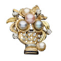 Estate Jewelry:Brooches - Pins, Cultured Pearl, Diamond, Sapphire, Gold Brooch. ...