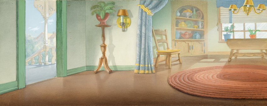 Animation Art Painted Cel Background Mr Duck Steps Out Donald S House Interior Pan