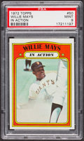 Baseball Cards:Singles (1970-Now), 1972 Topps Willie Mays In Action #50 PSA Mint 9 - Only Two Higher. ...