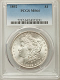 Morgan Dollars: , 1892 $1 MS64 PCGS. PCGS Population: (1620/341). NGC Census: (829/100). CDN: $900 Whsle. Bid for problem-free NGC/PCGS MS64....