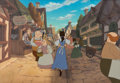 Animation Art:Painted cel background, Beauty and the Beast Belle Presentation Cel and MasterProduction Background (Walt Disney, 1991). ...