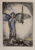 Fine Art - Work on Paper:Print, Marc Chagall (French/Russian, 1887-1985). Joshua Before theArmed Angel (from La Bible), 1956. Etching with hand colorin...