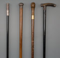 Decorative Arts, Continental, Four Physician's Walking Sticks, late 19th century. 36 inches (91.4cm) (longest). PROPERTY FROM THE COLLECTION OF MR. KEN... (Total: 4Items)