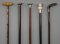 Decorative Arts, Continental, Five Sporting Lifestyle Walking Sticks, early 20th century. 37-1/4inches (94.6 cm) (longest). PROPERTY FROM THE COLLECTIO... (Total:5 Items)