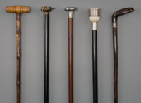 Five Sporting Lifestyle Walking Sticks, early 20th century 37-1/4 inches (94.6 cm) (longest)  PROPERTY FROM