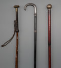 Other, Three Continental Weaponry Walking Sticks, late 19th century. 36-1/2 inches (92.7 cm) (longest). PROPERTY FROM THE COLLECT... (Total: 3 Items)