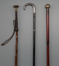 Three Continental Weaponry Walking Sticks, late 19th century 36-1/2 inches (92.7 cm) (longest)  PROPERTY FRO