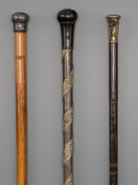 Three Continental Weaponry Walking Sticks, late 19th century 36-3/4 inches (93.3 cm) (longest)  PROPERTY FRO