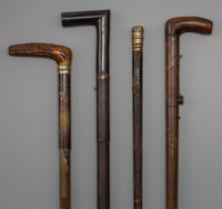Four English Weaponry and Gadget Walking Sticks, late 19th century 36-1/2 inches (92.7 cm) (longest)  PROPER