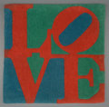Post-War & Contemporary, Robert Indiana (American, b. 1928). LOVE Rug, c. 1995.Hand-tufted and hand-carved, skein dyed, Indian wool onstretched...