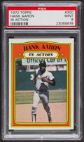 Baseball Cards:Singles (1970-Now), 1972 Topps Hank Aaron In Action #300 PSA Mint 9 - None Higher. ...