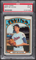 Baseball Cards:Singles (1970-Now), 1972 Topps Bert Blyleven #515 PSA Mint 9....