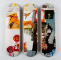 Fine Art - Work on Paper:Print, After Robert Rauschenberg X The Skateroom. Overdrive,triptych, 2016. Screenprints in colors on skate decks. 31 x 8inch...