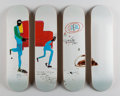 Fine Art - Work on Paper:Print, After Jean-Michel Basquiat X The Skateroom. Light bluemovers, set of four skate decks (Open Edition), 2016.Screenp... (Total: 3 Items)