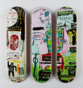 Fine Art - Work on Paper:Print, After Jean-Michel Basquiat X The Skateroom. In Italian,triptych (Open Edition), 2016. Screenprints in colors on skated... (Total: 3 Items)
