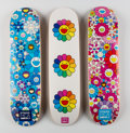 Fine Art - Work on Paper:Print, Takashi Murakami X Complexcon. Multi Flower 8.0 Skate Decks(Blue, Pink, and White) (three works), 2017. Screenprints in...(Total: 3 Items)