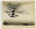 Animation Art:Production Cel, Two-Gun Mickey Mickey Mouse Production Cel with PaintedProduction Background (Walt Disney, 1932-34)....