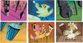 Animation Art:Concept Art, Toot, Whistle, Plunk and Boom Concept Paintings Group of 6(Walt Disney, 1951). ...
