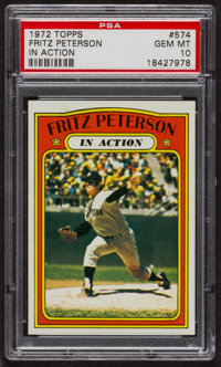1972 Topps Fritz Peterson In Action #574 PSA Gem MT 10