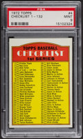 Baseball Cards:Singles (1970-Now), 1972 Topps Checklist 1-132 #4 PSA Mint 9 - Only One Higher. ...