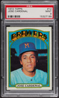 Baseball Cards:Singles (1970-Now), 1972 Topps Jose Cardenal #12 PSA Mint 9 - Only Two Higher. ...