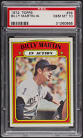 Baseball Cards:Singles (1970-Now), 1972 Topps Billy Martin In Action #34 PSA Gem MT 10 - Pop Five. ...